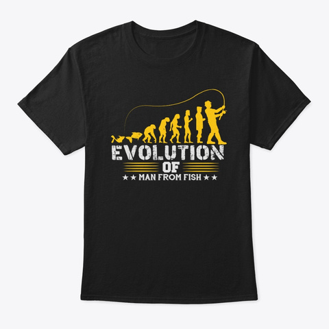 Human Evolution From Fish Black T-Shirt Front