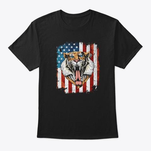 Vintage Patriot Tiger 4th Of July  Black T-Shirt Front