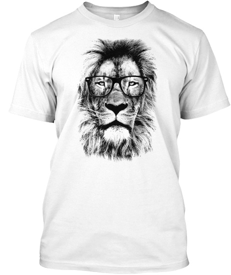 The King Lion Of The Library White T-Shirt Front