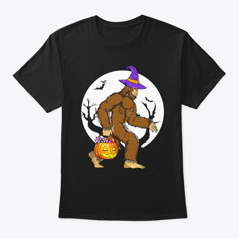 Bigfoot Witch Hat Pumpkin Halloween Black T-Shirt Front