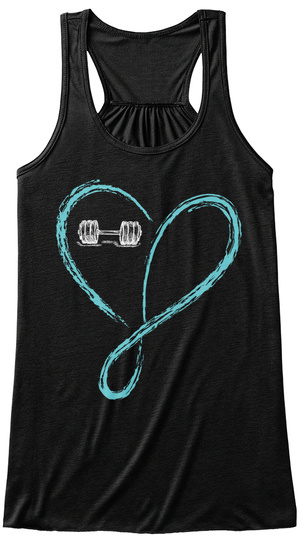Love And Infinity   Barbell Black T-Shirt Front