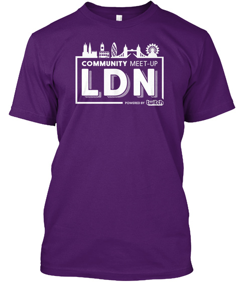 Community Meet   Up Ldn Powered By Twitch Purple T-Shirt Front