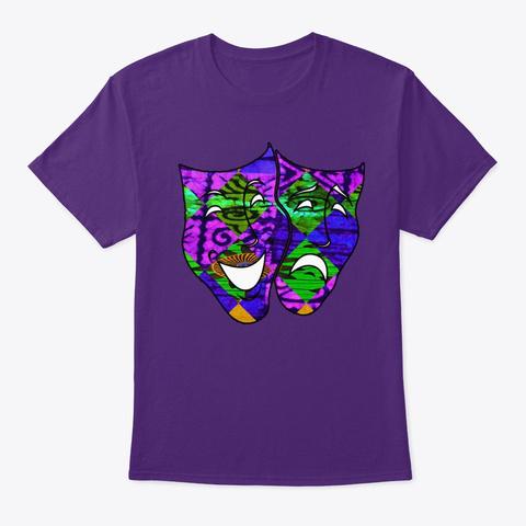 Mardi Gras Tragedy Comedy Mask Purple T-Shirt Front
