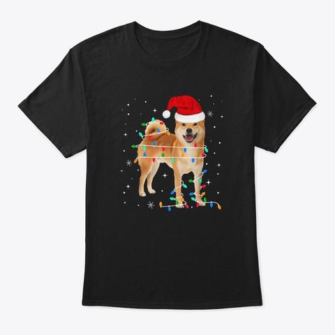Cute Shiba Inu Dog Santa Merry Christmas Black T-Shirt Front
