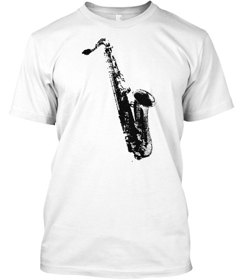 Tenor Saxophone White T-Shirt Front