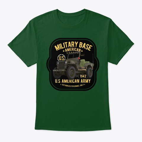 Military Off Road Truck Tee Shirt Deep Forest T-Shirt Front
