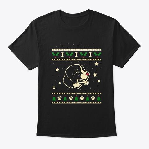Christmas Landseer Gift Black T-Shirt Front
