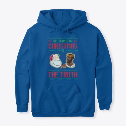 Santa Vs Jesus Blue Royal T-Shirt Front
