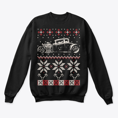 Hot Rod Car Ugly Christmas Sweater Black T-Shirt Front