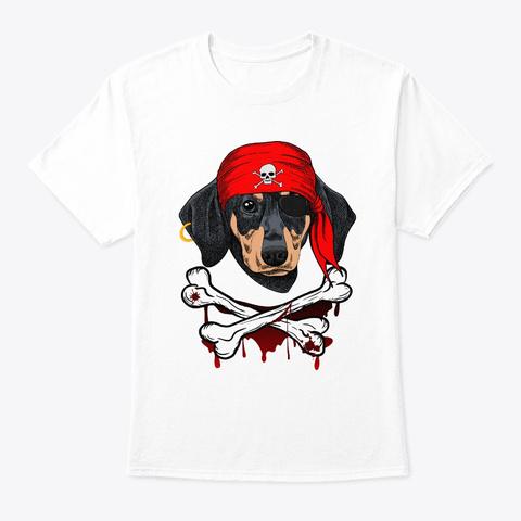 Dachshund Dog Pirate Halloween Tshirt White T-Shirt Front