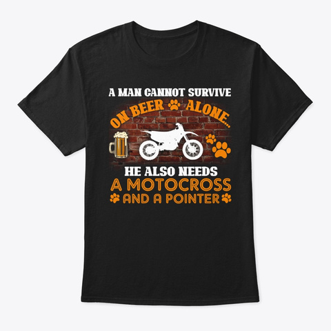 Pointer And A Motocross Black T-Shirt Front