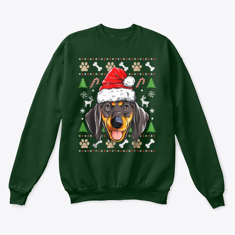 Dachshund Ugly Christmas Shirts  Deep Forest  T-Shirt Front
