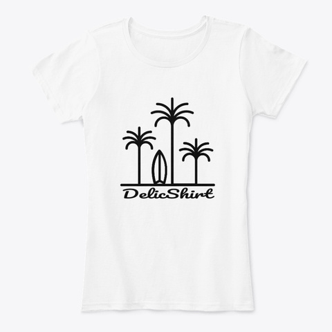 No. 1 Delic Shirt Surf And Palm Trees White T-Shirt Front