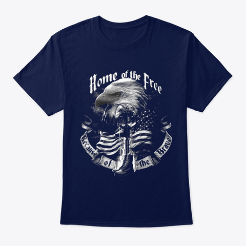 Veteran Because Of The Brave Navy T-Shirt Front