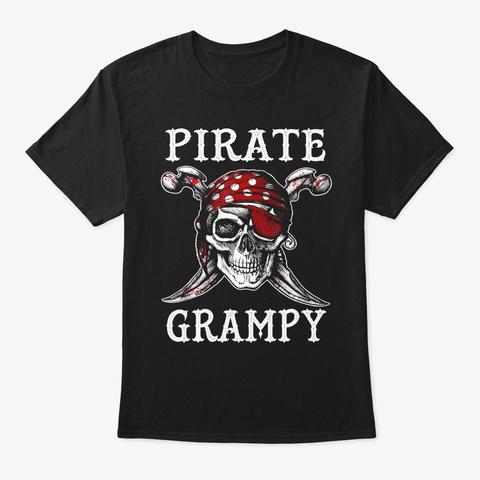 Pirate Grampy Halloween T Shirt Skull Co Black T-Shirt Front