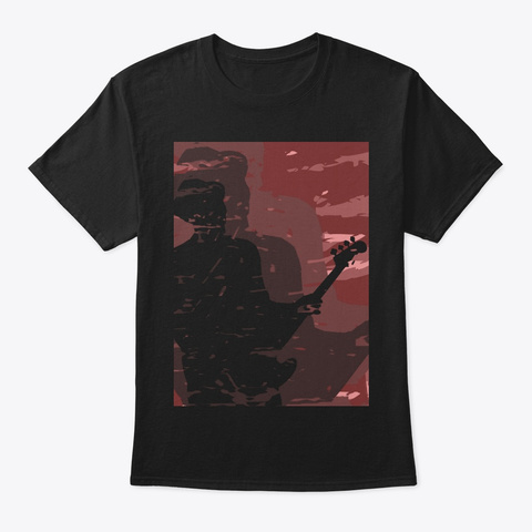Cool Bass Player Shadow Black T-Shirt Front