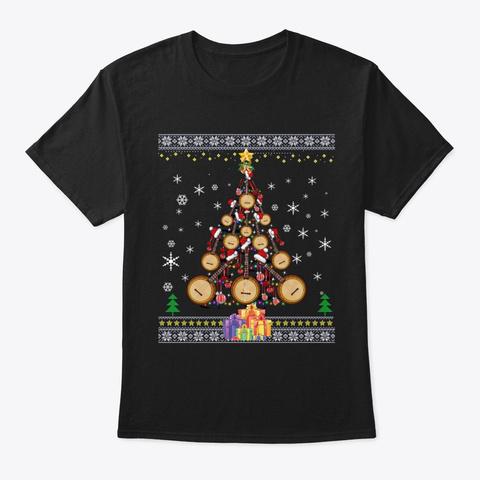 Banjo Christmas Tree Merry Xmas Lights G Black T-Shirt Front