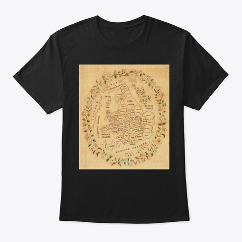 Map England Wales 1835 Black T-Shirt Front