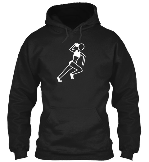 Female Shot Put Track And Field Sports Black T-Shirt Front