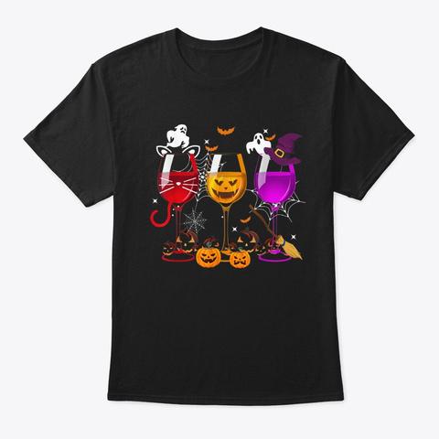 Three Glasses Of Wine Halloween T Shirt  Black T-Shirt Front
