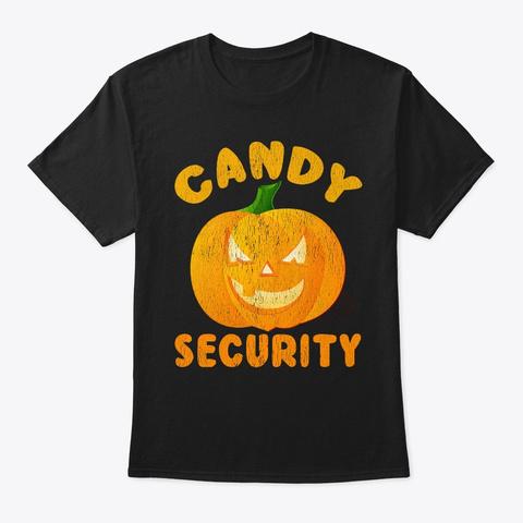 Candy Security Jack O Lantern Pumpkin Black T-Shirt Front