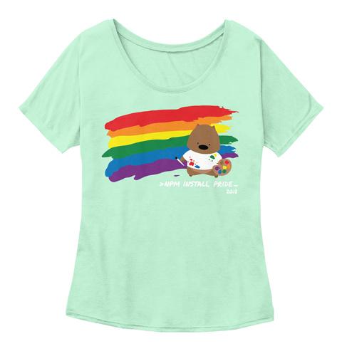Npm Install Pride 2018 Mint  Women's T-Shirt Front