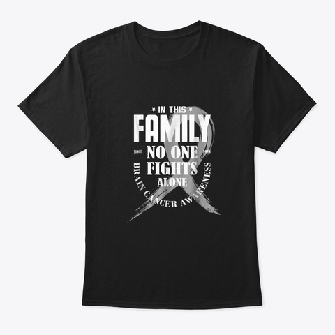 In This Family No One Fights Alone Brain Black T-Shirt Front