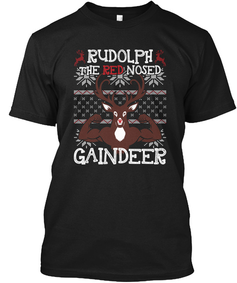 Rudolph The Red Nosed Gaindeer Black T-Shirt Front