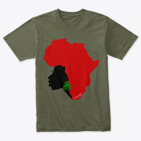 Mutha Africa Tees And More! Military Green T-Shirt Front