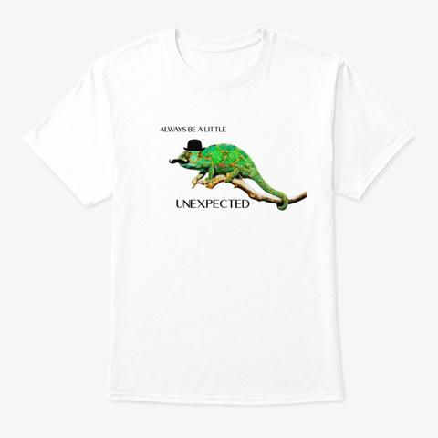 Hipster Chameleon White T-Shirt Front