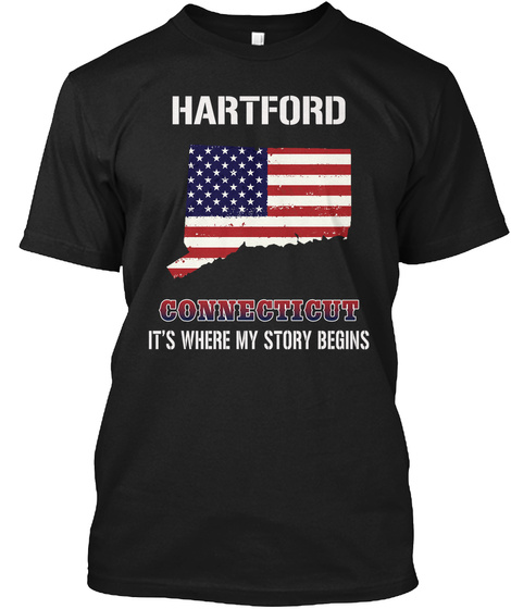 Hartford Ct   Story Begins Black T-Shirt Front