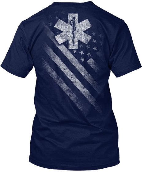 Star Of Life Flag Navy T-Shirt Back