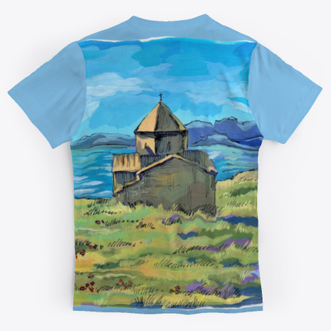 Armenia, Lake Sevan Light Blue T-Shirt Back