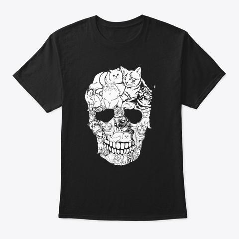 Funny Cat Skull Skeleton Kitty Halloween Black T-Shirt Front