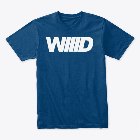 Word In 3 D Navy Blue Shirt Cool Blue T-Shirt Front