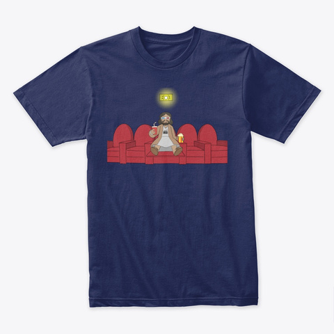 Jesus Loves Movies T Shirt Midnight Navy T-Shirt Front