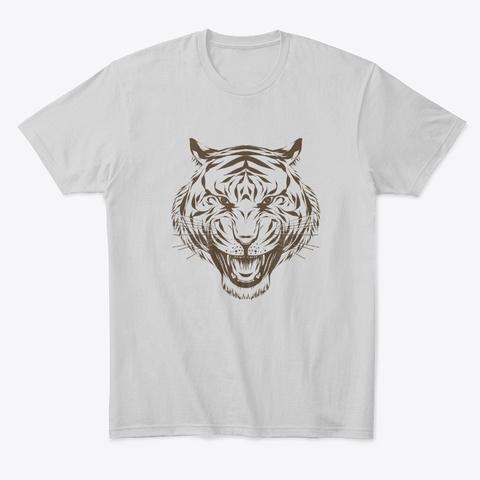 Tiger Head Light Heather Grey  T-Shirt Front