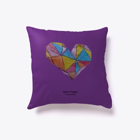 Crinkled Heart   Amor Indoor Pillow Purple T-Shirt Back
