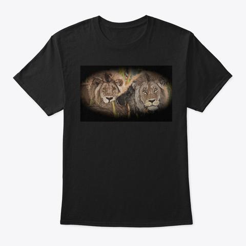 Afrigraphix   Lions At Sunset   Black Black T-Shirt Front