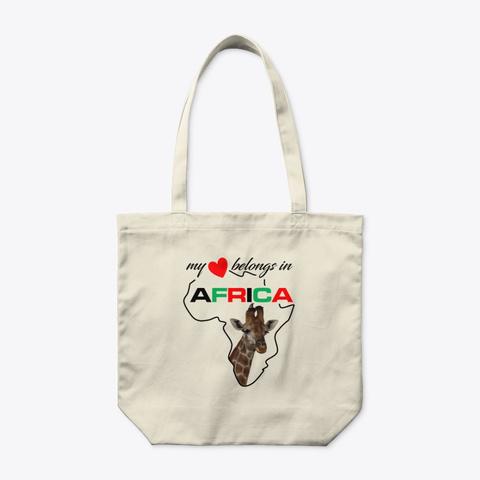 My Heart Belongs In Africa   Giraffe Natural T-Shirt Front