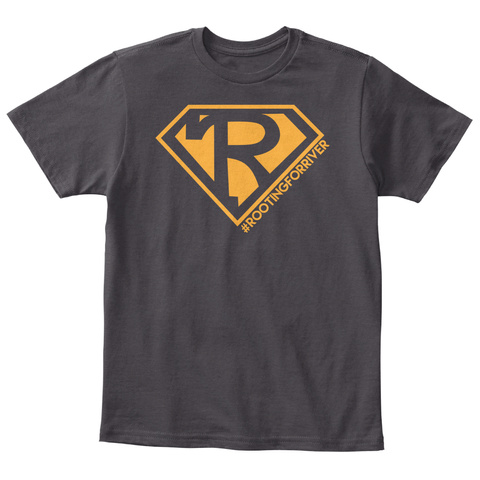 R #Rootingforriver Heathered Charcoal  T-Shirt Front