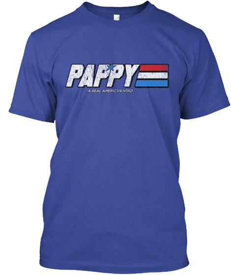 Pappy A Real American Head Deep Royal T-Shirt Front