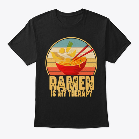Vintage Ramen My Therapy Japan Noodles Black T-Shirt Front