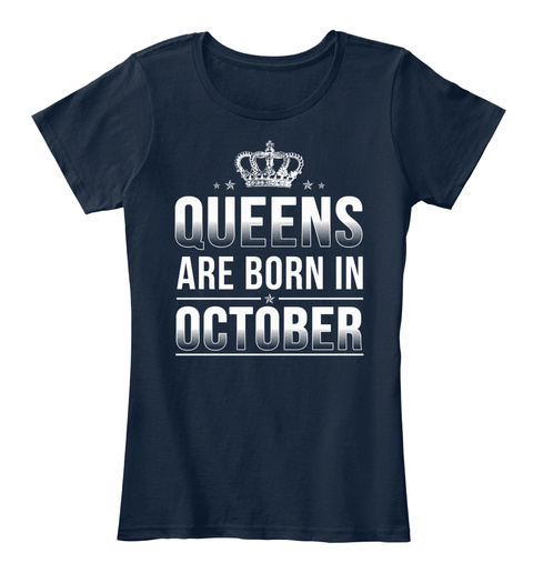 October T Shirts   Are Born In October New Navy T-Shirt Front