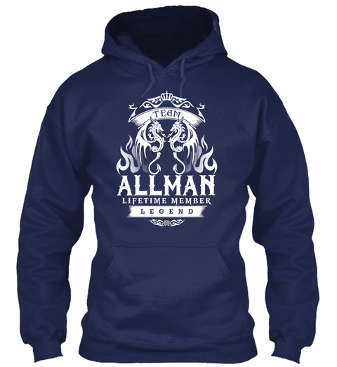 Team Allman Lifetime Member Legend Navy T-Shirt Front