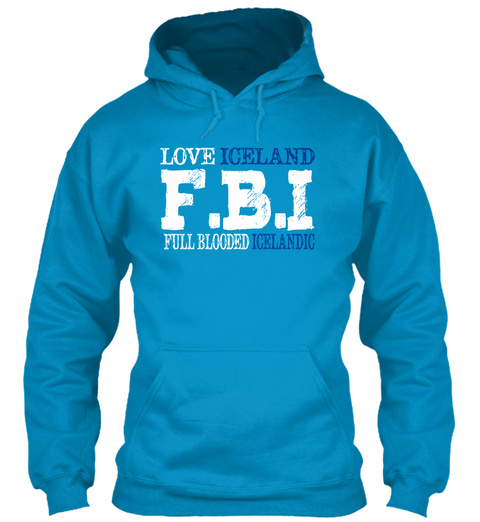 Love Iceland F.B.I Full Blooded Icelandic Sapphire Blue T-Shirt Front
