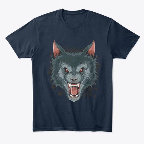 Wolf Of Dark Night New Navy T-Shirt Front