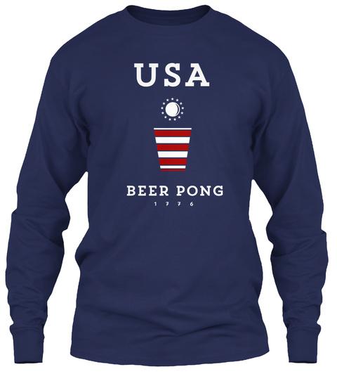 Usa Beer Pong 1776  Navy Long Sleeve T-Shirt Front