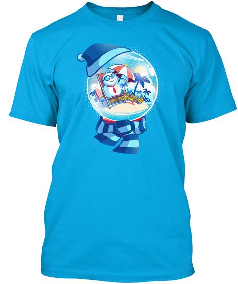 Snowglobe Sunbathing Turquoise T-Shirt Front