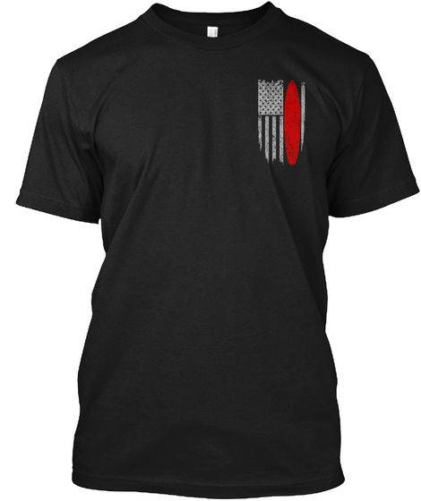 Surfing   Usa Flag Black T-Shirt Front
